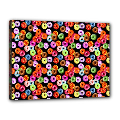 Colorful Yummy Donuts Pattern Canvas 16  X 12