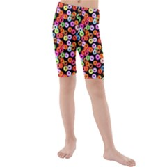 Colorful Yummy Donuts Pattern Kids  Mid Length Swim Shorts