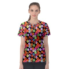 Colorful Yummy Donuts Pattern Women s Sport Mesh Tee