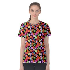 Colorful Yummy Donuts Pattern Women s Cotton Tee