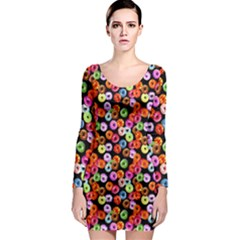 Colorful Yummy Donuts Pattern Long Sleeve Bodycon Dress
