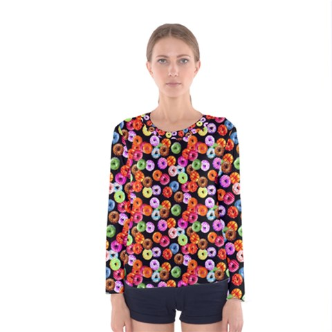 Colorful Yummy Donuts Pattern Women s Long Sleeve Tee by EDDArt