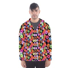 Colorful Yummy Donuts Pattern Hooded Wind Breaker (men)