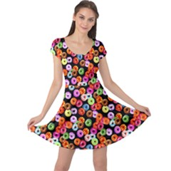 Colorful Yummy Donuts Pattern Cap Sleeve Dresses