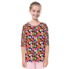 Colorful Yummy Donuts Pattern Kids  Quarter Sleeve Raglan Tee