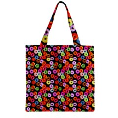 Colorful Yummy Donuts Pattern Zipper Grocery Tote Bag