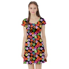 Colorful Yummy Donuts Pattern Short Sleeve Skater Dress by EDDArt