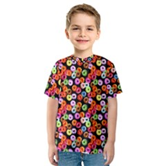 Colorful Yummy Donuts Pattern Kids  Sport Mesh Tee