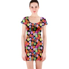 Colorful Yummy Donuts Pattern Short Sleeve Bodycon Dress