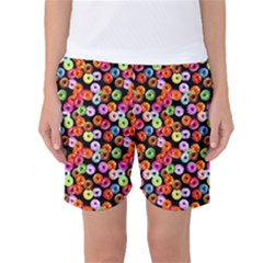 Colorful Yummy Donuts Pattern Women s Basketball Shorts