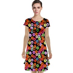 Colorful Yummy Donuts Pattern Cap Sleeve Nightdress