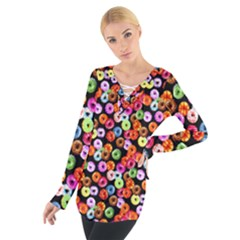 Colorful Yummy Donuts Pattern Women s Tie Up Tee by EDDArt