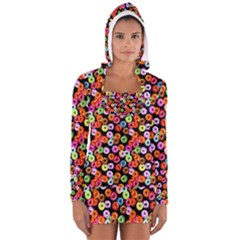 Colorful Yummy Donuts Pattern Women s Long Sleeve Hooded T-shirt by EDDArt