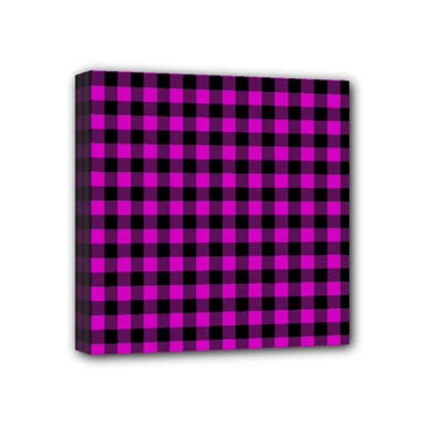 Lumberjack Fabric Pattern Pink Black Mini Canvas 4  X 4  by EDDArt