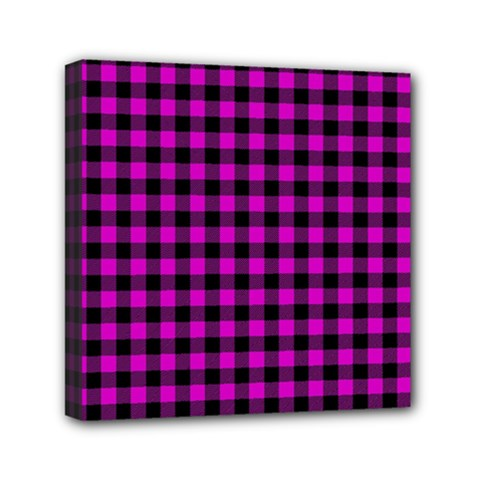 Lumberjack Fabric Pattern Pink Black Mini Canvas 6  X 6