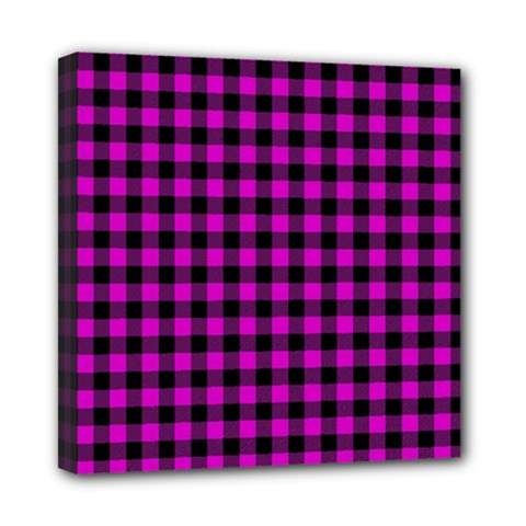 Lumberjack Fabric Pattern Pink Black Mini Canvas 8  X 8  by EDDArt