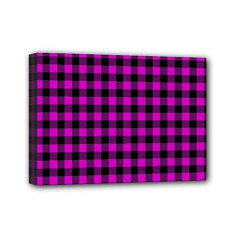 Lumberjack Fabric Pattern Pink Black Mini Canvas 7  X 5  by EDDArt
