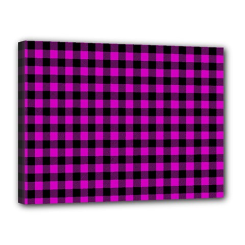 Lumberjack Fabric Pattern Pink Black Canvas 16  X 12  by EDDArt