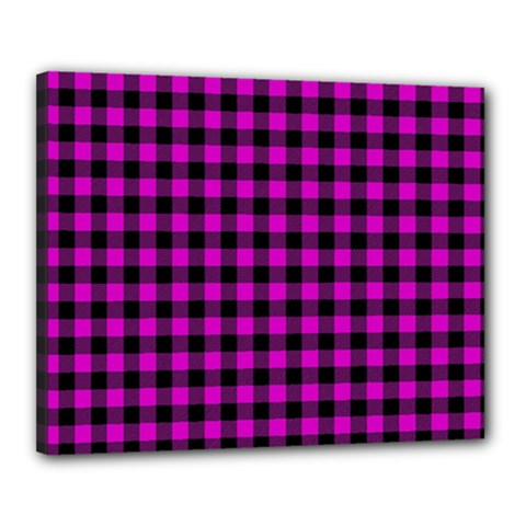 Lumberjack Fabric Pattern Pink Black Canvas 20  X 16  by EDDArt