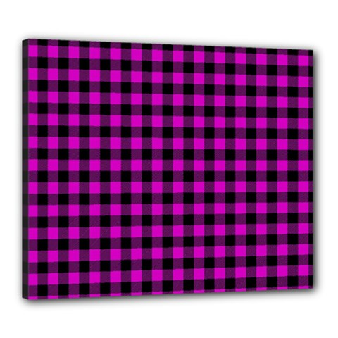 Lumberjack Fabric Pattern Pink Black Canvas 24  X 20