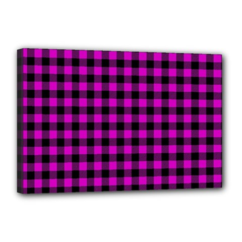 Lumberjack Fabric Pattern Pink Black Canvas 18  X 12  by EDDArt