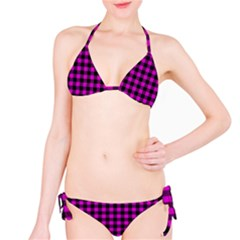 Lumberjack Fabric Pattern Pink Black Bikini Set by EDDArt