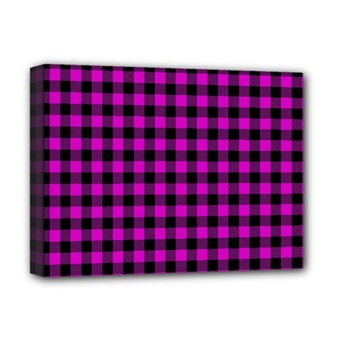 Lumberjack Fabric Pattern Pink Black Deluxe Canvas 16  X 12
