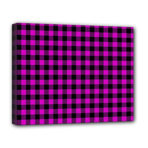 Lumberjack Fabric Pattern Pink Black Deluxe Canvas 20  X 16   by EDDArt