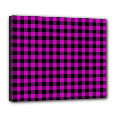 Lumberjack Fabric Pattern Pink Black Deluxe Canvas 24  X 20   by EDDArt