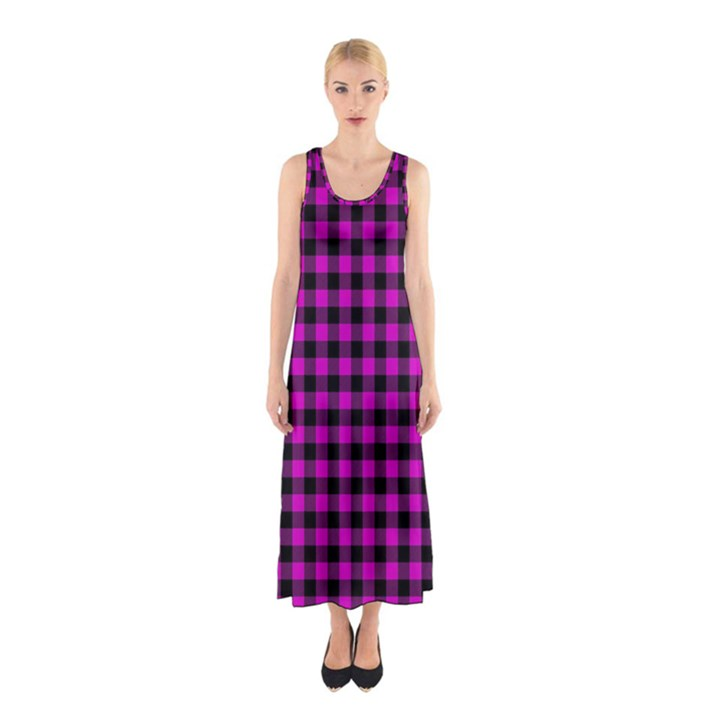 Lumberjack Fabric Pattern Pink Black Sleeveless Maxi Dress