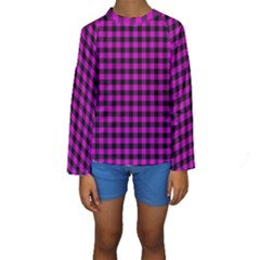 Lumberjack Fabric Pattern Pink Black Kids  Long Sleeve Swimwear by EDDArt