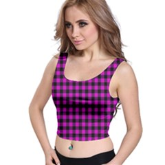 Lumberjack Fabric Pattern Pink Black Crop Top