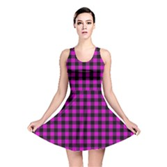 Lumberjack Fabric Pattern Pink Black Reversible Skater Dress