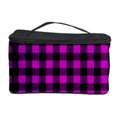 Lumberjack Fabric Pattern Pink Black Cosmetic Storage Case