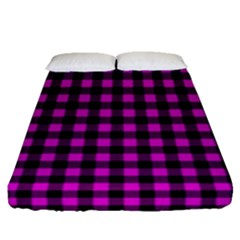 Lumberjack Fabric Pattern Pink Black Fitted Sheet (queen Size)