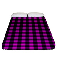 Lumberjack Fabric Pattern Pink Black Fitted Sheet (king Size) by EDDArt