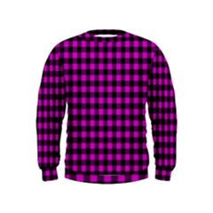 Lumberjack Fabric Pattern Pink Black Kids  Sweatshirt