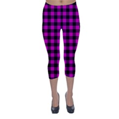 Lumberjack Fabric Pattern Pink Black Capri Winter Leggings  by EDDArt