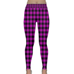 Lumberjack Fabric Pattern Pink Black Classic Yoga Leggings