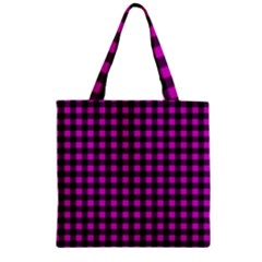 Lumberjack Fabric Pattern Pink Black Zipper Grocery Tote Bag by EDDArt