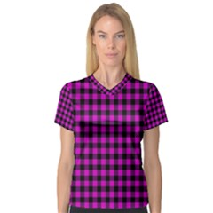 Lumberjack Fabric Pattern Pink Black Women s V Neck Sport Mesh Tee