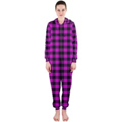 Lumberjack Fabric Pattern Pink Black Hooded Jumpsuit (ladies)