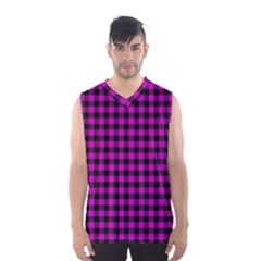 Lumberjack Fabric Pattern Pink Black Men s Basketball Tank Top