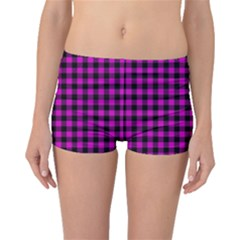 Lumberjack Fabric Pattern Pink Black Boyleg Bikini Bottoms by EDDArt