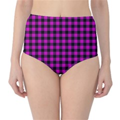 Lumberjack Fabric Pattern Pink Black High-waist Bikini Bottoms by EDDArt