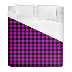 Lumberjack Fabric Pattern Pink Black Duvet Cover (full/ Double Size)