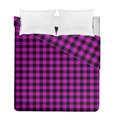 Lumberjack Fabric Pattern Pink Black Duvet Cover Double Side (full/ Double Size) by EDDArt