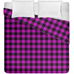 Lumberjack Fabric Pattern Pink Black Duvet Cover Double Side (king Size)