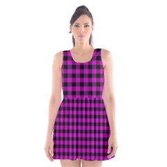 Lumberjack Fabric Pattern Pink Black Scoop Neck Skater Dress by EDDArt