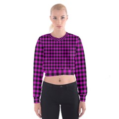Lumberjack Fabric Pattern Pink Black Cropped Sweatshirt